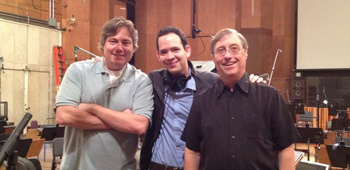 Robert Meyer Burnett and Roger Lay, Jr. with TNG composer Ron Jones at the Newman Scoring Stage