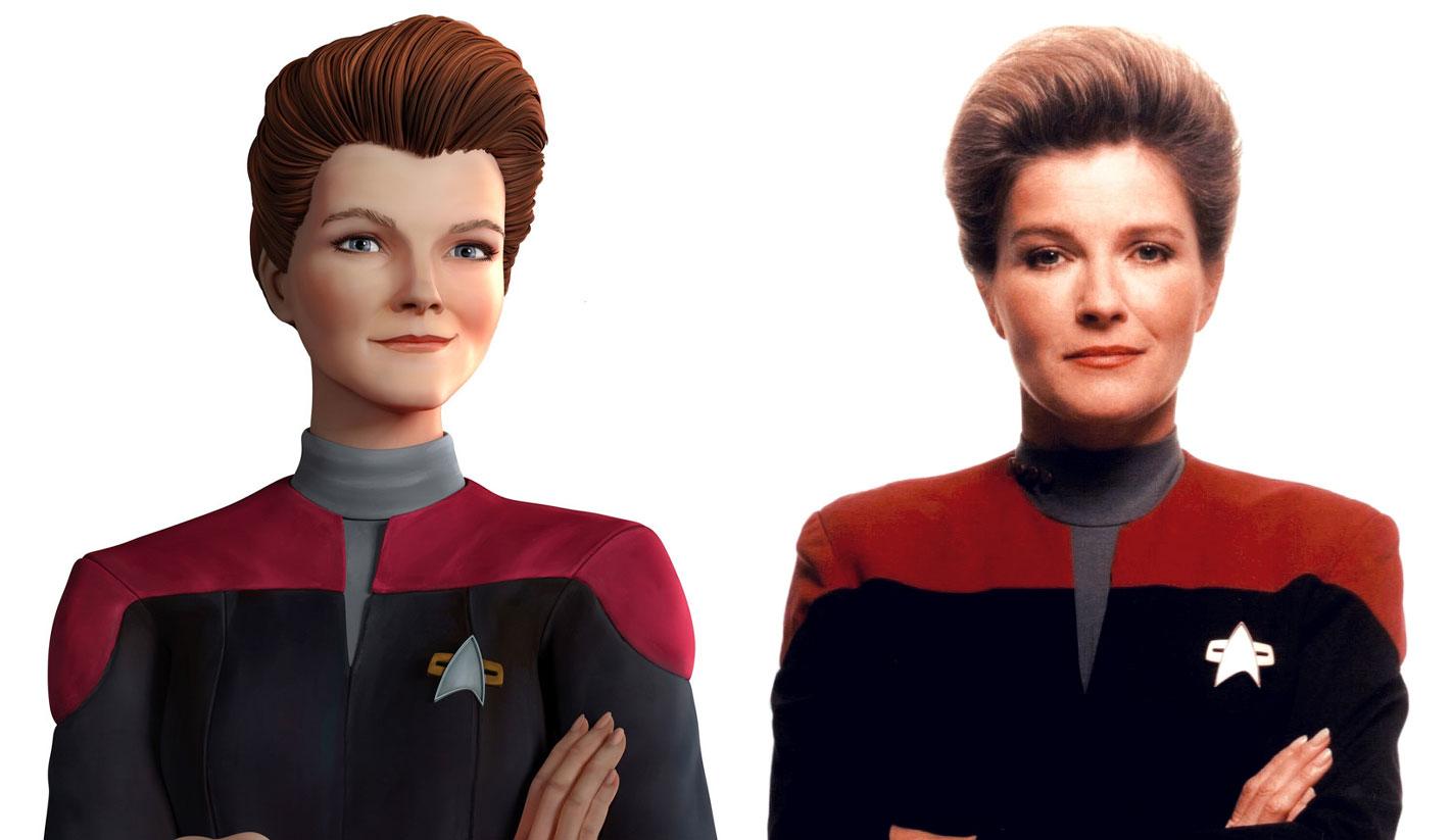 Kate Mulgrew as Captain Kathryn Janeway in Star Trek: Voyager, and her hologram in Star Trek: Prodigy